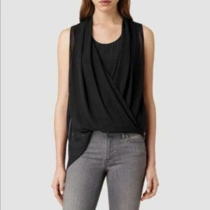 All Saints Black Abi Silk Asymmetrical Blouse